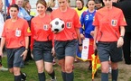 Solenne Bartnik, Manuela Nicolosi, Séverine Zinck et Cindy Gosselin, un quatuor d'arbitres internationales (photo : S. Duret)
