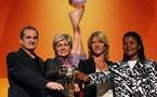 Les quatre sélectionneurs du groupe A : Bruno Bini, Silvia Neid, Carolina Morace et Uche (photo : DFB)