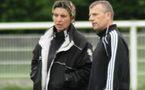 Sandrine Mathivet avec Patrice Lair avant le quart de finale victorieux face à l'OL (photo : Eric Levecot)