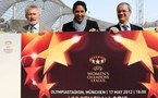 Giorgio Marchetti (à d.), Steffi Jones (au m.) et Paul Breitner au lancement des billets de la finale de l'UEFA Women's Champions League