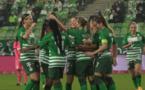 Les joueuses de Ferencvaros en vert ont largement dominé le Racing Club Luxembourg qui comptait six Françaises dans ses rangs dont Andrea Burtin, Precillia Rinaldi (photo FTC)