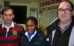 Le coach René Devienne et le président Philippe Verstaen aux côtés de Chardente Saya Ndoulou