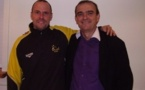 Jérôme Bégot (à g), ici avec son président Patrick Chardaire, veut rester concentrer sur l'objectif n°1 : la montée (crédit : AS La Sanne)
