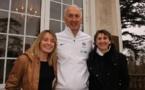 Philippe Bergerôo entouré de Sonia Bompastor et Marinette Pichon (photo FFF)