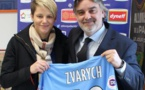 Iryna Zvarych avec Laurent Nicollin (photo MHSC)