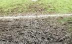 Une des surfaces de réparation du terrain d'Arras lors du match annulé contre Juvisy, un terrain boueux (photo JL Martinet)