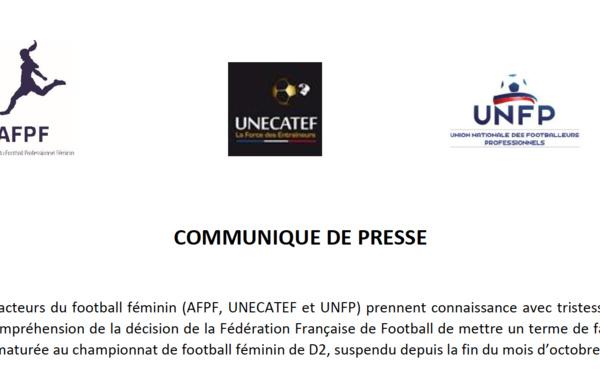 #D2F - L'AFPF, l'UNECATEF et l'UNFP regrettent l'arrêt du championnat