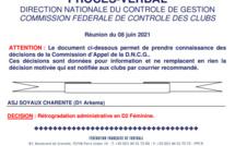 #D1Arkema - La DNCG prononce la relégation de SOYAUX en D2